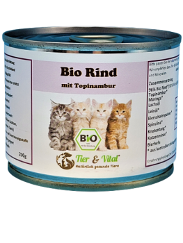 Bio Katzenfutter - Rind mit Topinambur 200g